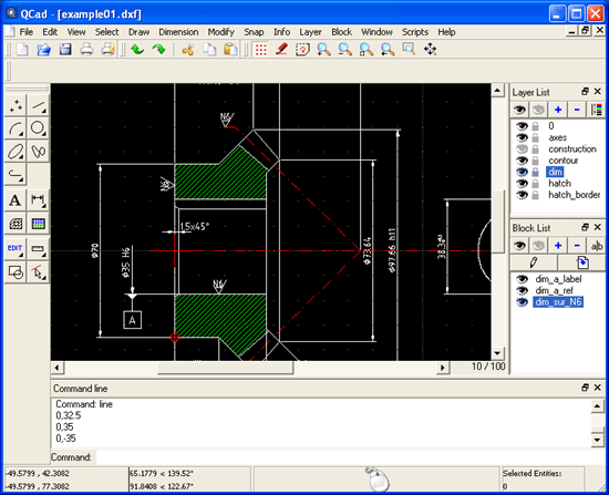 QCad open source application for computer aided drafting and design