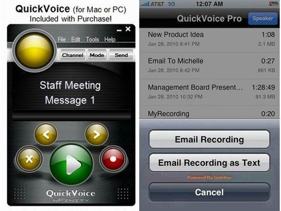 QuickVoice2Text Email dictation apps