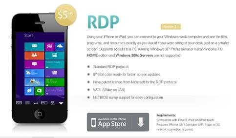 Remote Desktop Lite (RDP) for iPhone