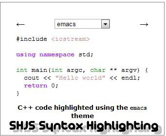 SHJS 11 useful JavaScript syntax highlighter
