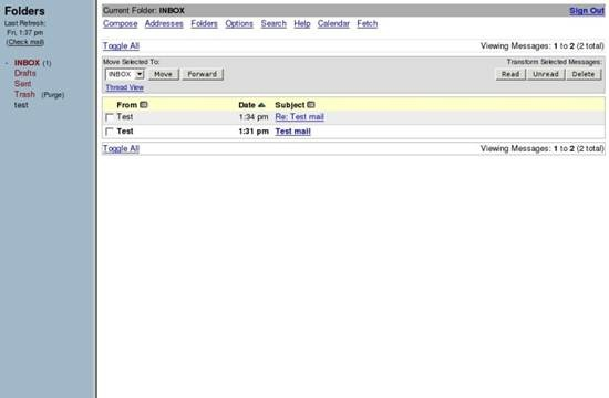 SquirrelMail Webmail 6 useful Ajax and PHP based Webmail Client