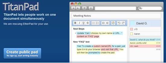 TitanPad collaborative document editor