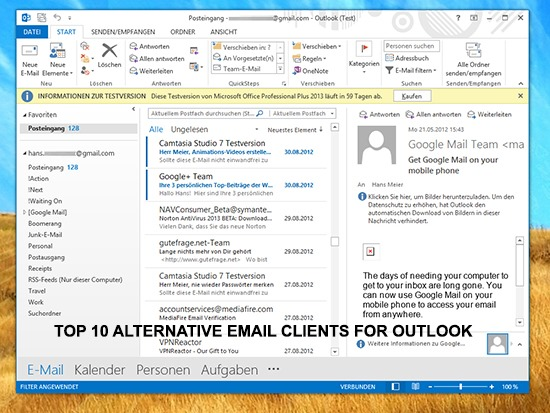 Top 10 Alternative Email clients for Outlook