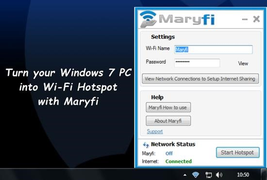 Turn your Windows 7 PC into Wi-Fi Hotspot with Maryfi