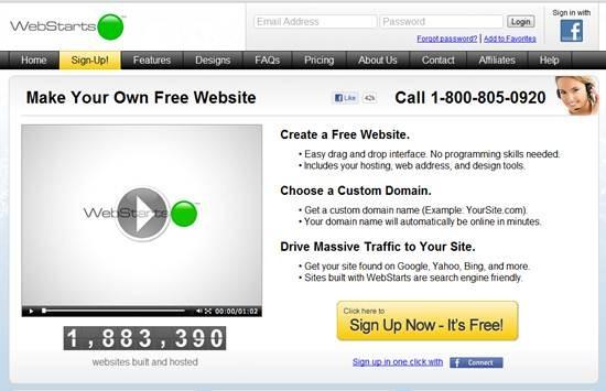 WebStarts Free Website Builder
