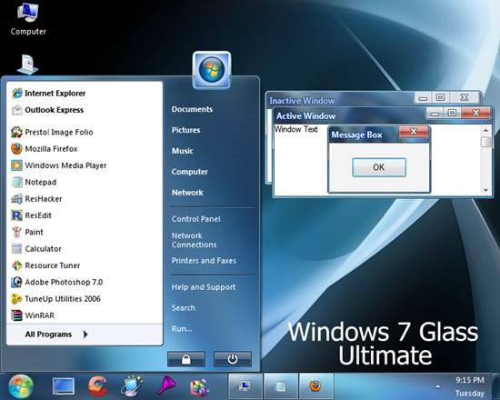 Windows_7_Glass_Ultimate 55 most Beautiful free Window XP Themes and Visual Styles