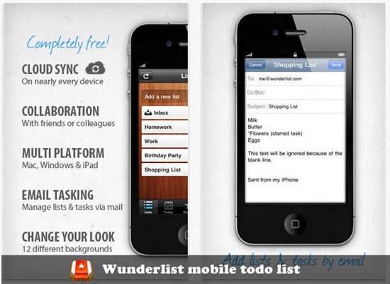 Wunderlist mobile to-do list : 20 most useful Mobile To-Do List manager for iPhone