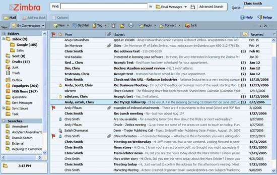 Zimbra Webmail 6 useful Ajax and PHP based Webmail Client