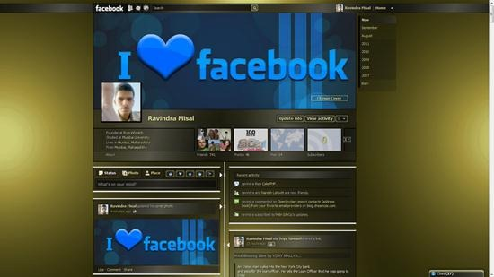 dark gold shiny facebook theme for timeline