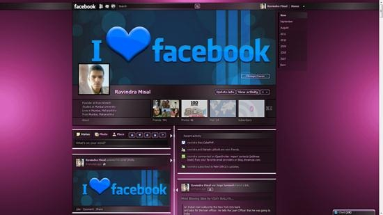 dark shiny plum stripe facebook theme for timeline