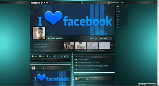 facebook dark teal shiny timeline theme
