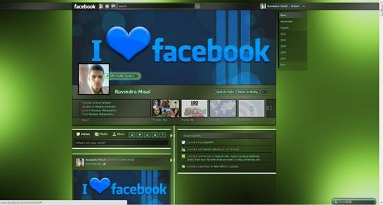 facebook timeline theme Dark Shiny Green