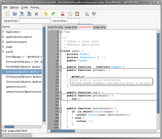GPHPEdit - Open source PHP editor for Gnome