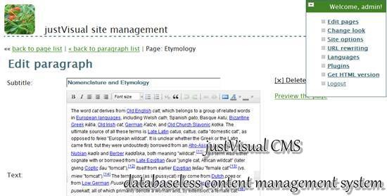 justVisual CMS - databaseless content management system