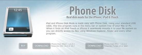 phonedisk iPad, iTouch, iPhone Disk Mode for Mac and PC