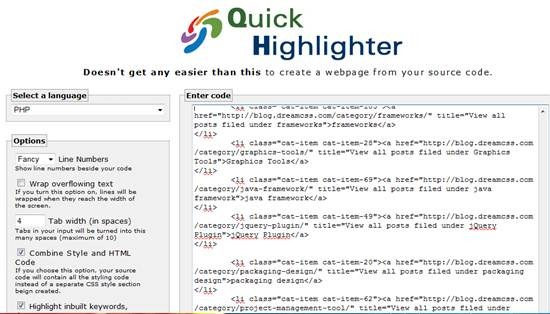 QuickHighlighter - Free online Code Syntax Highlighter