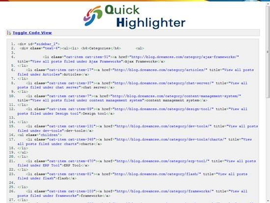 QuickHighlighter - Free online Code Syntax Highlighter