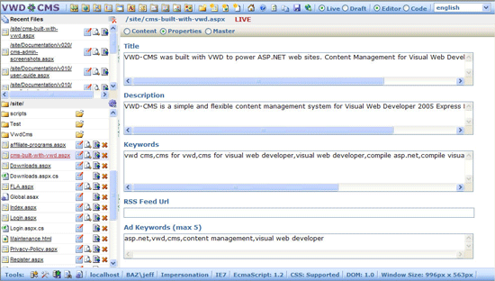 VMD CMS - flat file based CMS for ASP.net