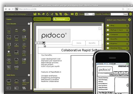 wireframing and prototyping tools - Pidoco