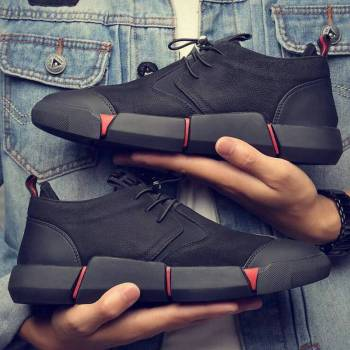 Black Men's leather casual shoes