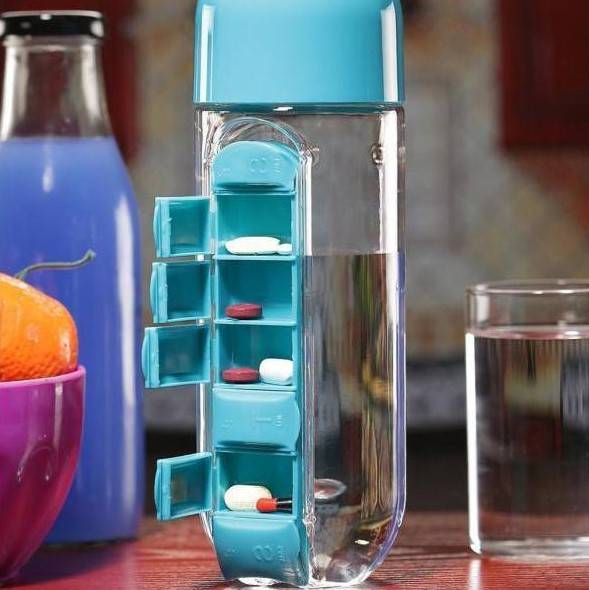600 ML Water Bottle With Pill Organizer Gadkit