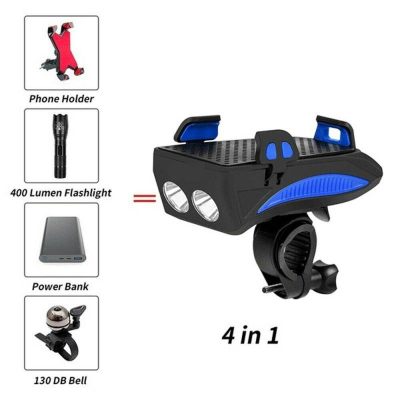 H869a940070554545b00046773c452cd4W Multi-function Bicycle Light phone holder + flashlight +power bank