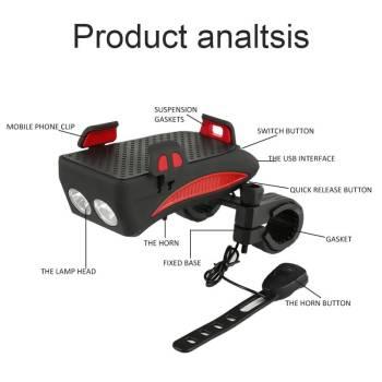 Multi function Bicycle Light USB Rechargeable LED Bike Head Lamp Bike Horn Phone Holder Powerbank 4 2 Multi-function Bicycle Light phone holder + flashlight +power bank