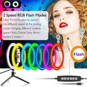 LED Colorful Dimmable Ring Light with Tripod USB Selfie Light Ring Lamp Big Photography Ringlight with 2 LED Colorful Dimmable Ring Light with Tripod