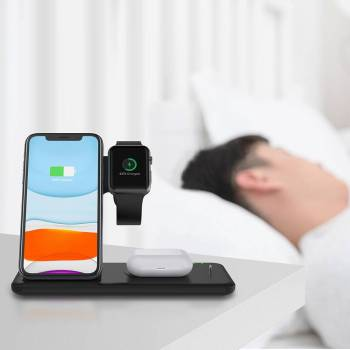 Fast Wireless Charger Stand For iPhone amp Apple Watch Dock Station Gadkit 5 Fast Wireless Charger Stand For iPhone  & Apple Watch Dock Station