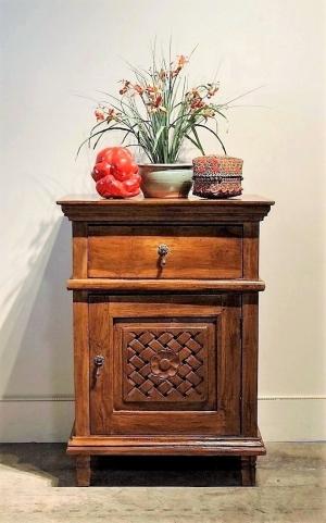 Side Table Bali Style.Reclaimed Teak Carved Bali Side Table Gado Gado