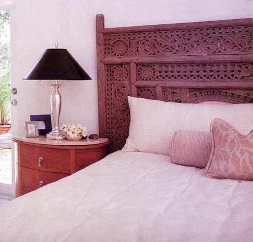 Old Indonesian Bed Panel as Headboard: Florida Design Magazine
