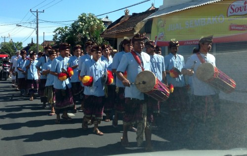 Balinese Men in Ceremonial Procession
