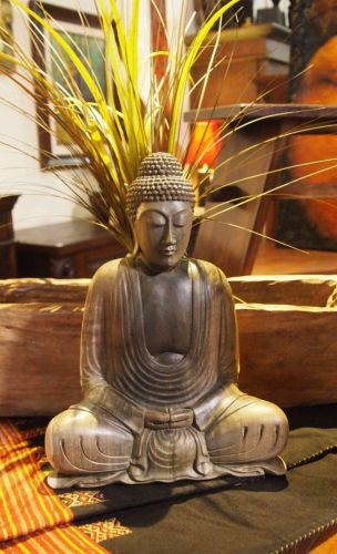 Meditating Buddha Balinese Wood Carving Statue