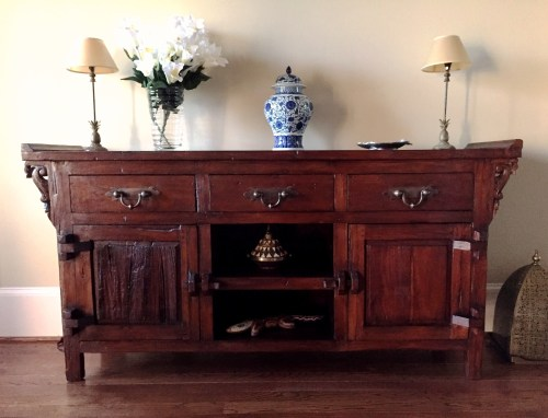 Reclaimed Teak Buffet with Brass Handles from Gado Gado. Client Photo