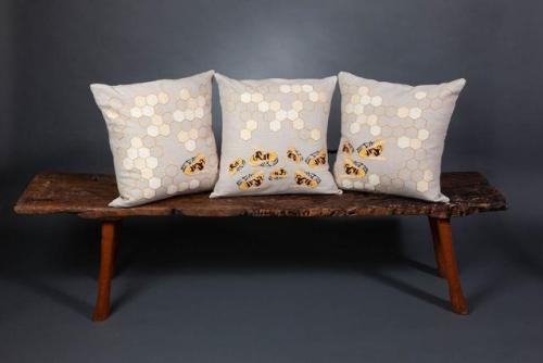 Juliarose Triebes Pillows & Indonesian Bench from Gado Gado