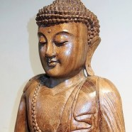 Large Meditating Buddha Balinese Wood Carving Statue
