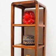 Reclaimed Wood Mid-Century Modern Small Display Cabinet