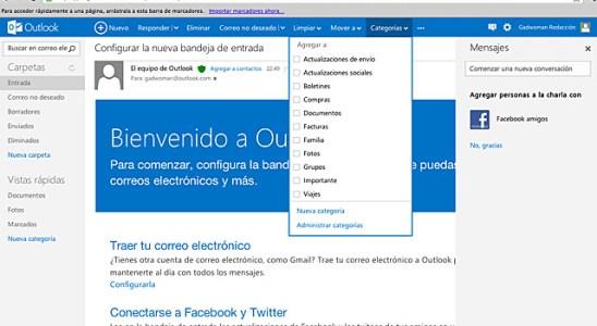 Menus Outlook.com Hotmail