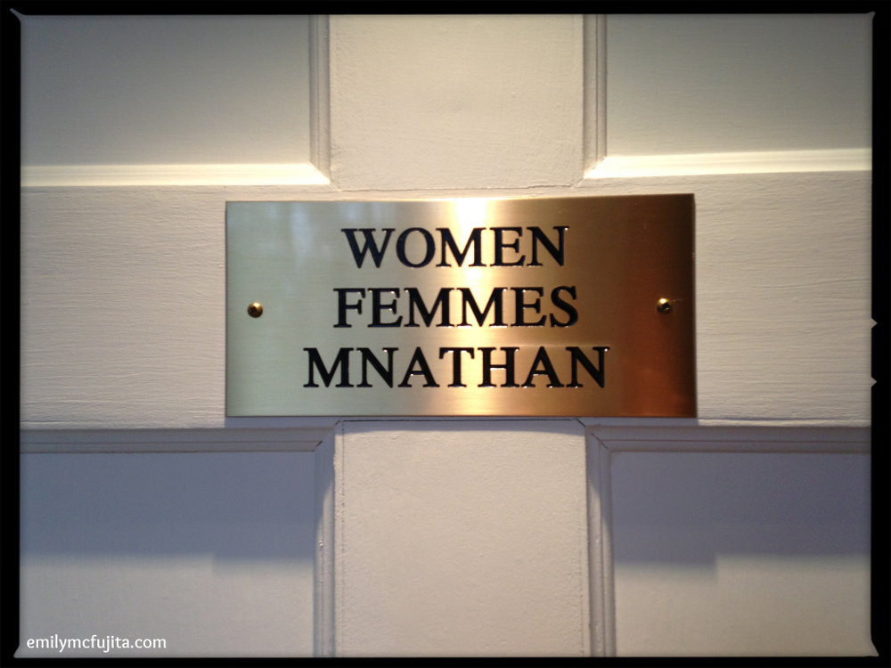 Trilingual (English-French-Gaelic) Washroom Sign at Government House, Halifax
