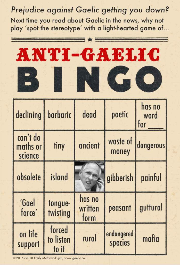 Anti-Gaelic Bingo Card #1