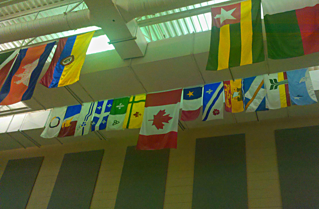 Flags of la francophonie in a French-medium school cafeteria
