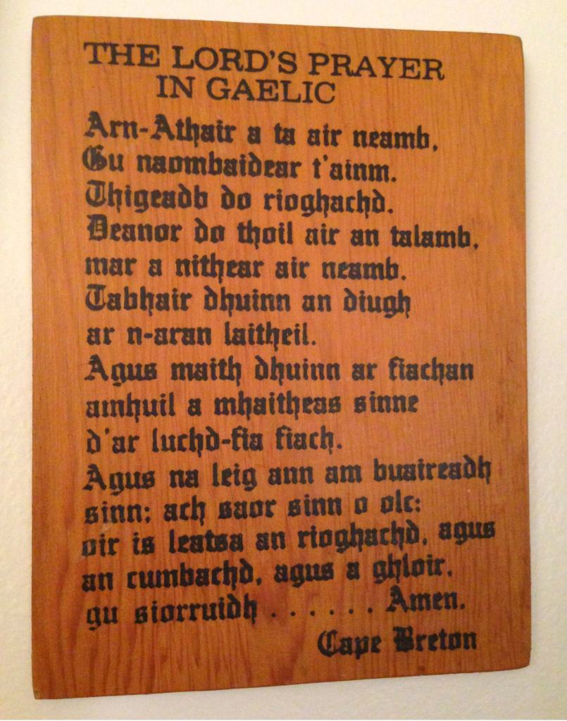 A Lord's Prayer wooden plaque from Cape Breton