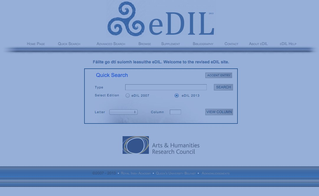 The eDIL: A historic Gaelic dictionary online
