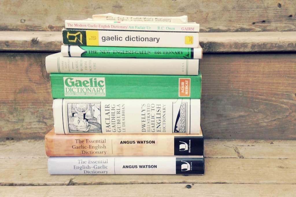 Stack of Gaelic dictionaries
