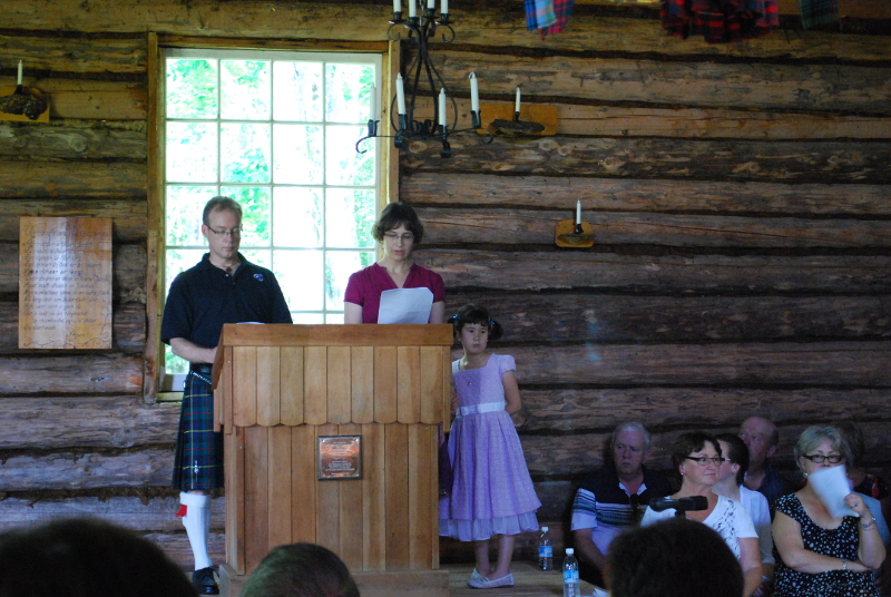 Giving the lay sermon at the Loch Broom Log Cabin Church