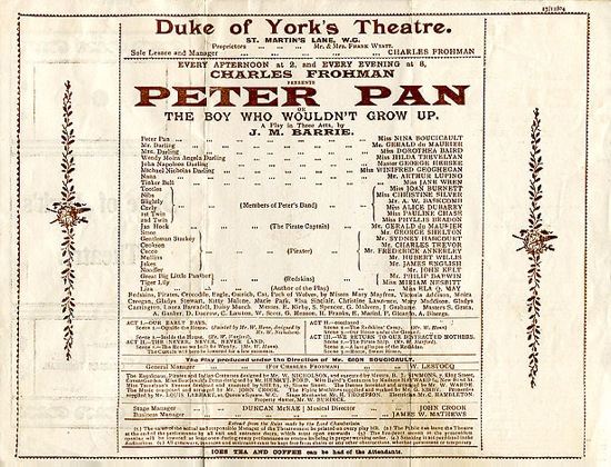 """Peter-pan-play-announcement"" by Uncredited - http://neverpedia.com/pan/Image:1904-programme.jpg. Via Wikipedia - https://en.wikipedia.org/wiki/File:Peter-pan-play-announcement.jpg#/media/File:Peter-pan-play-announcement.jpg"