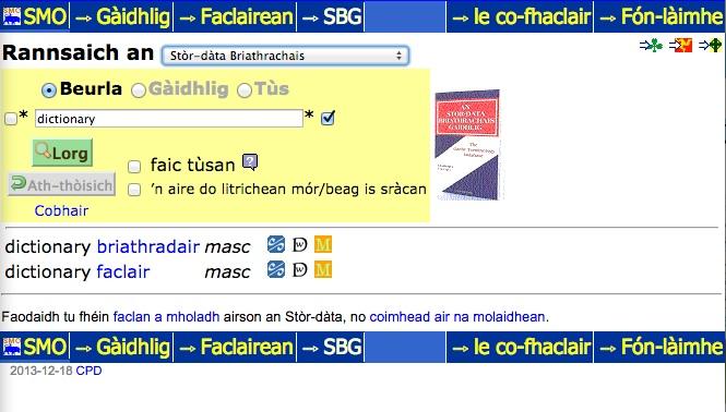 """A screenshot of the search results for """"faclair"""" in the online Stòr-Dàta Briathrachais Gàidhlig"""