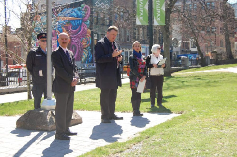 Mayor Mike Savage, Councillor Tony Mancini, Norma MacLean of Sgoil Ghàidhlig, and Beth Anne MacEachen of Citadel High