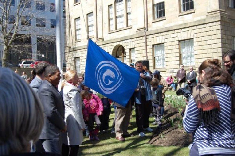 Raising the Gaelic flag at Province House, Halifax, Nova Scotia - seat of the Nova Scotia legislature