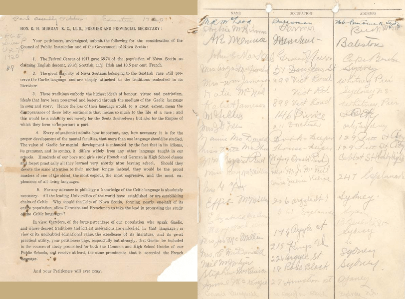 Pages of the 1920 petition for Gaelic in Nova Scotia schools, Nova Scotia Archives